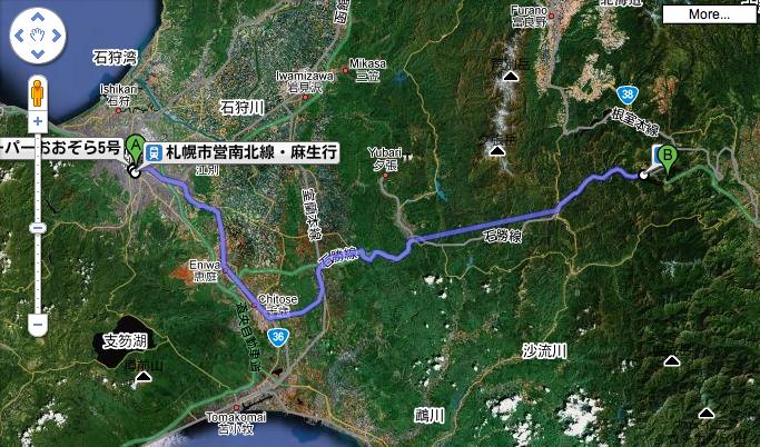 Sapporo to Tomamu by train.