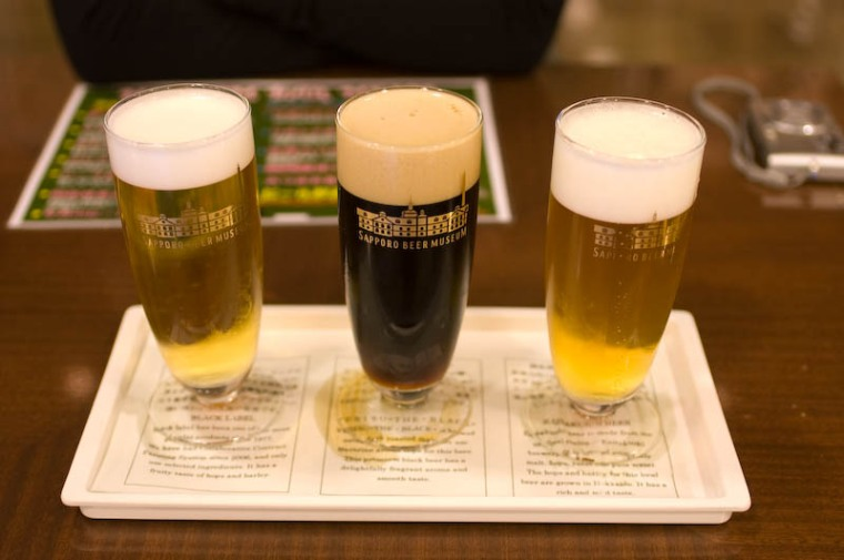 From left to right: Sapporo Black Label, Yebisu the Black, Kaitakushi Beer.