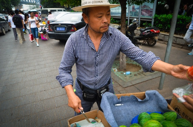 I didn't have one of them, but this man sold me a mini watermelon.